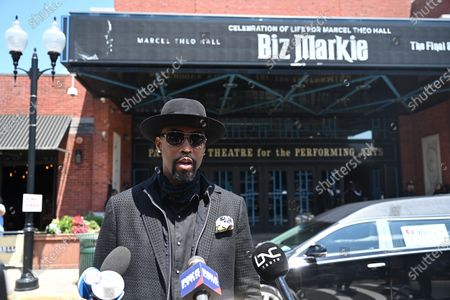 Stock Picture of Montell Jordan attends the funeral for Marcel Theo Hall a/k/a Biz Markie at the Patchogue Theatre for the Performing Arts in New York.
