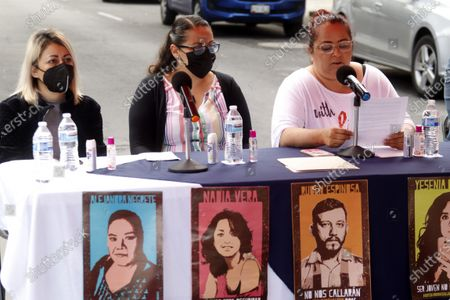 Gabriela Mejía, Patricia Espinosa Becerril, Indira Alfaro, Relatives of the victims speak during a protest to demand justice for  Murdered  victims, activist Nadia Vera, domestic worker Alejandra Negrete, beauty student Yesenia Quiroz, model Mile Martin and photojournalist Ruben Espinosa, that they were killed with firearm shots,  inside of  department of the 1909 building, on Luz Savinon street in  Narvarte neighborhood 6 years ago.  On July 31, 2021 in Mexico City, Mexico.