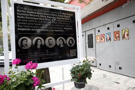 At 1909 Luz Saviñón Street in apartment 401 in the Narvarte neighborhood in Mexico City, relatives of Nadia Vera, Alejandra Negrete, Yesenia Quiroz, Mile Martín and Rubén Espinosa, condemn the actions of the Mexico City Attorney General's Office to guarantee justice in the crime registered 6 years ago. They remember them and demand from the Government of Mexico City concrete actions and results soon, time is running out, warn family members. Mexico City, Mexico, July 31, 2021.