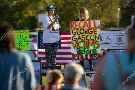 Stock Image of Victims and survivors of crimes tells their stories and stand in support of recalling George Gascon on Thursday, July 29, 2021 in Santa Clarita, CA.(Jason Armond / Los Angeles Times)