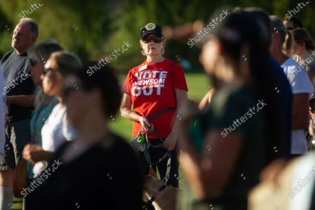 Stock Picture of Organizers and supporters for the Recall George Gascon campaign rally at Central Park in Santa Clarita some also support the recall of Governor Gavin Newsom on Thursday, July 29, 2021 in Santa Clarita, CA.(Jason Armond / Los Angeles Times)