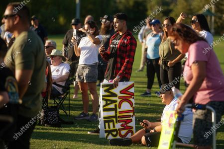 Victims and survivors of crimes tells their stories and stand in support of recalling George Gascon on Thursday, July 29, 2021 in Santa Clarita, CA.(Jason Armond / Los Angeles Times)