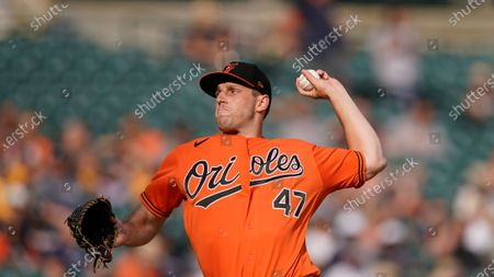Baltimore Orioles starting pitcher John Means plays during a baseball game, in Detroit