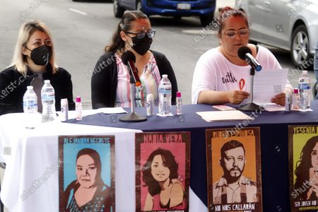 Gabriela Mejía, Patricia Espinosa Becerril, Indira Alfaro, Relatives of the victims speak during a protest to demand justice for  Murdered  victims, activist Nadia Vera, domestic worker Alejandra Negrete, beauty student Yesenia Quiroz, model Mile Martin and photojournalist Ruben Espinosa, that they were killed with firearm shots,  inside of  department of the 1909 building, on Luz Savinon street in  Narvarte neighborhood 6 years ago.