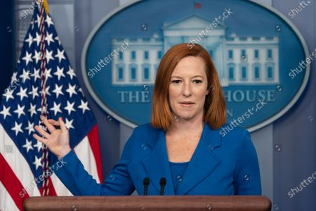 White House Press Secretary Jen Psaki holds a briefing with White House American Rescue Plan Coordinator and Senior Advisor to the President Gene Sperling at the White House in Washington, DC,