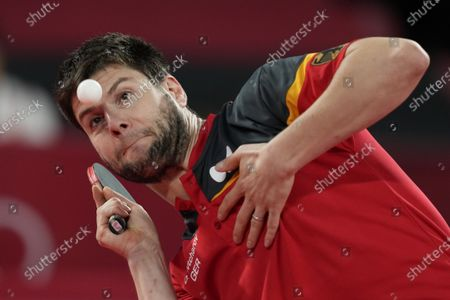 Dimitrij Ovtcharov of Germany compete during the table tennis men's team quarterfinal against Taiwan Lin Yun-ju at the 2020 Summer Olympics, in Tokyo, Japan