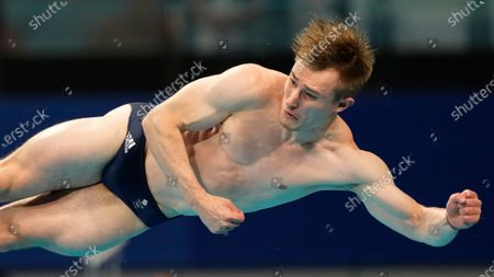 Jack Laugher of Britain competes in men's diving 3m springboard semifinal at the Tokyo Aquatics Centre at the 2020 Summer Olympics, in Tokyo, Japan