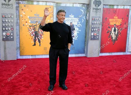 """Sylvester Stallone, a cast member in """"The Suicide Squad,"""" waves at the premiere of the film at the Regency Village Theatre, in Los Angeles"""