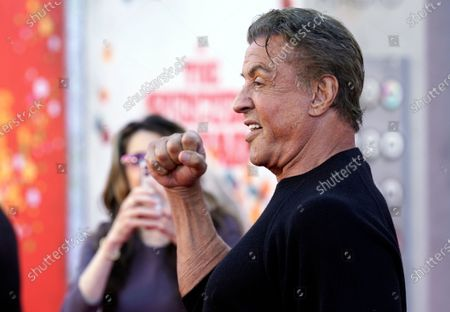 """Sylvester Stallone, a cast member in """"The Suicide Squad,"""" poses at the premiere of the film at the Regency Village Theatre, in Los Angeles"""