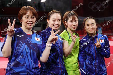 (L to R)   Mika Baba,  Kasumi Ishikawa,  Miu Hirano, Mima Ito (JPN) - Table Tennis :  Women's Team Semi-Final  during the Tokyo 2020 Olympic Games  at the Tokyo Metropolitan Gymnasium in Tokyo, Japan.