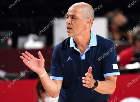 Argentina's head coach  Sergio Hernandez reacts during the Men's Basketball quarter final match between Australia and Argentina at the Tokyo 2020 Olympic Games at the Saitama Super Arena in Saitama, Japan, 03 August 2021.