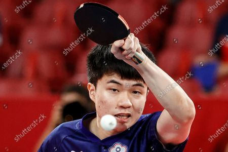 Lin Yun Ju of Taiwan in action during Men's team quarterfinal table tennis match against Patrick Franziska of Germany at the Tokyo 2020 Olympic Games at the Tokyo Metropolitan Gymnasium in Tokyo, Japan, 03 August 2021.