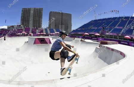 Lizzie Armanto of Finland during the training session of skateboarding at the Tokyo Summer Olympic Games in Ariake Urban Sports Park, on August 3, 2021.