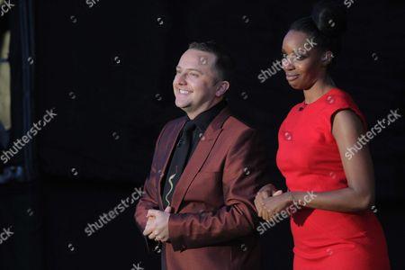 Presenters Tim Rhys-Evans and Josie D'Arby