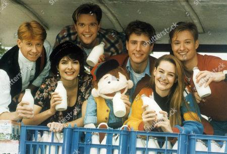 GMTV Kids Presenters (L-R) Simon Parkin, Kate Weston, Darren Day, Paul Zerdin with puppet Sam, ?, and Stuart Miles