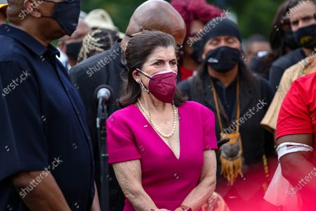 Luci Baines Johnson, the daughter of former President Lyndon B. Johnson, attends the Poor People's Campaign Moral Monday demonstration and civil disobedience action near the U.S. Capitol in Washington, D.C. on August 2, 2021