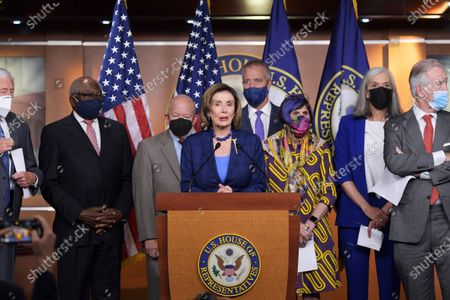 US House Speaker Nancy Pelosi (D-CA) alongside Democratic Leaders speaks during a press conference about American Rescue Plan and House Democratss Legislative Agenda, today on July 30, 2021 at HVC/Capitol Hill in Washington DC, USA.