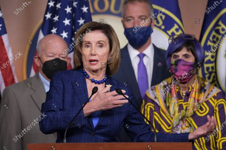 Stock Picture of US House Speaker Nancy Pelosi (D-CA) alongside Democratic Leaders speaks during a press conference about American Rescue Plan and House Democratss Legislative Agenda, today on July 30, 2021 at HVC/Capitol Hill in Washington DC, USA.