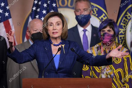 Stock Image of US House Speaker Nancy Pelosi (D-CA) alongside Democratic Leaders speaks during a press conference about American Rescue Plan and House Democratss Legislative Agenda, today on July 30, 2021 at HVC/Capitol Hill in Washington DC, USA.