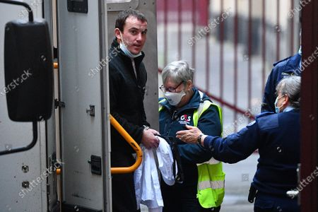 Stock Image of Stephen Tahaney (L) arrives to the Supreme Court of Victoria in Melbourne, Victoria, Australia, 03 August 2021. Jury deliberations for Mark Dixon, Jack Harvey and Stephen Tahaney who are charged with the attempted murder of former New South Wales (NSW) police detective Sid Morgan.
