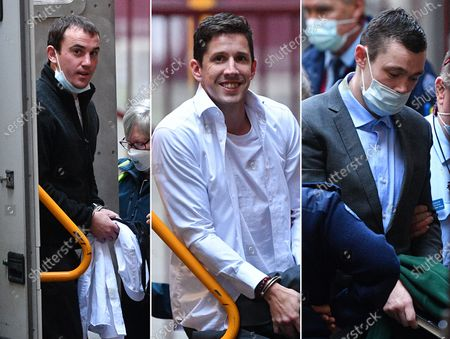 (COMPOSITE) A composite image shows (L-R) Stephen Tahaney, Jack Harvey, and Mark Dixon arriving to the Supreme Court of Victoria in Melbourne, Victoria, Australia, 03 August 2021. Jury deliberations for Mark Dixon, Jack Harvey and Stephen Tahaney who are charged with the attempted murder of former New South Wales (NSW) police detective Sid Morgan.