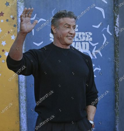 """Cast member Sylvester Stallone attends the premiere of the sci-fi motion picture comedy """"The Suicide Squad"""" at the Regency Village Theatre in the Westwood section of Los Angeles on Monday, August 2, 2021. Storyline: Supervillains Harley Quinn, Bloodsport, Peacemaker and a collection of nutty cons at Belle Reve prison join the super-secret, super-shady Task Force X as they are dropped off at the remote, enemy-infused island of Corto Maltese."""