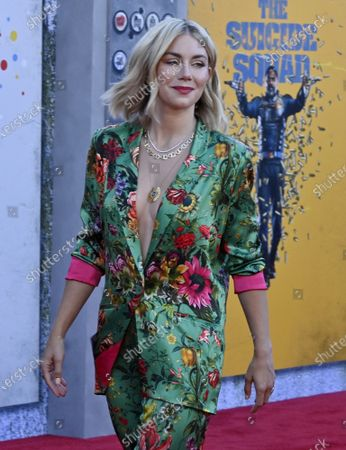 """Cast member Jennifer Holland attends the premiere of the sci-fi motion picture comedy """"The Suicide Squad"""" at the Regency Village Theatre in the Westwood section of Los Angeles on Monday, August 2, 2021. Storyline: Supervillains Harley Quinn, Bloodsport, Peacemaker and a collection of nutty cons at Belle Reve prison join the super-secret, super-shady Task Force X as they are dropped off at the remote, enemy-infused island of Corto Maltese."""