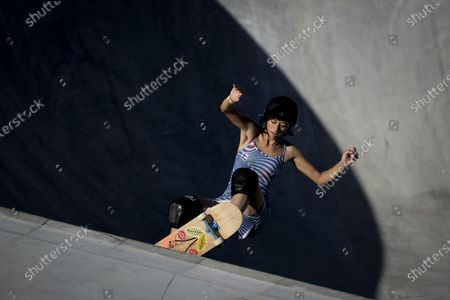 Lizzie Armanto of Finland takes part in a women's park skateboarding practice session at the 2020 Summer Olympics, in Tokyo, Japan