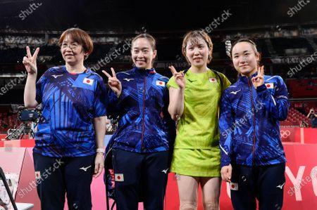 Stock Image of Kasumi Ishikawa (JPN), Miu Hirano (JPN), Mima Ito (JPN), Mika Baba (JPN) - Table Tennis : Women's team semifinal at Tokyo Metropolitan Gymnasium during the Tokyo 2020 Olympic Games in Tokyo, Japan.