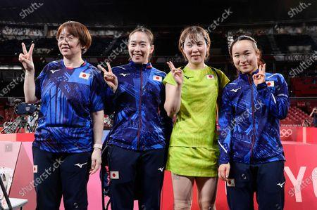 Kasumi Ishikawa (JPN), Miu Hirano (JPN), Mima Ito (JPN), Mika Baba (JPN) - Table Tennis : Women's team semifinal at Tokyo Metropolitan Gymnasium during the Tokyo 2020 Olympic Games in Tokyo, Japan.