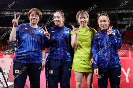 Stock Picture of Kasumi Ishikawa (JPN), Miu Hirano (JPN), Mima Ito (JPN), Mika Baba (JPN) - Table Tennis : Women's team semifinal at Tokyo Metropolitan Gymnasium during the Tokyo 2020 Olympic Games in Tokyo, Japan.