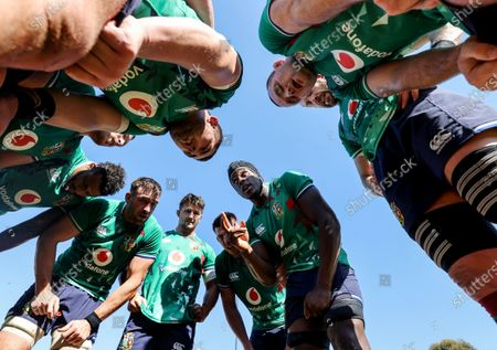 British & Irish Lions Squad Training, South Africa 3/8/2021. Maro Itoje speaks to the team