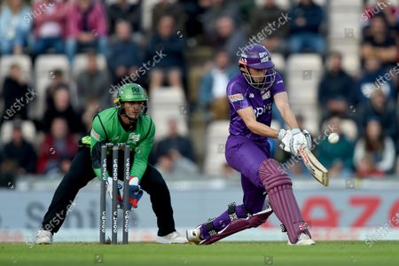 John Simpson of Northern Superchargers batting during the The Hundred match between Southern Brave and Northern Superchargers at The Ageas Bowl, Southampton