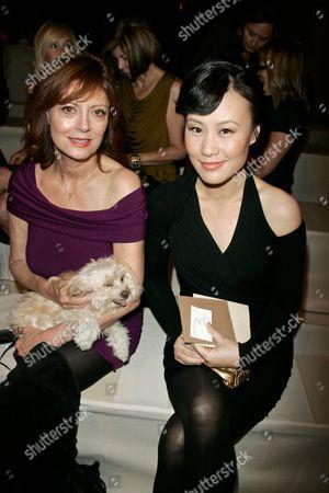 Susan Sarandon with her dog Penny and Vivian Wu