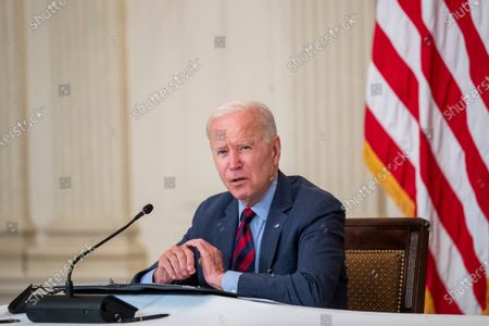 US President Joe Biden meets with Latino community leaders to discuss his economic agenda, immigration reform and the need to protect the right to vote in the State Dining Room of the White House in Washington, DC, USA, 03.