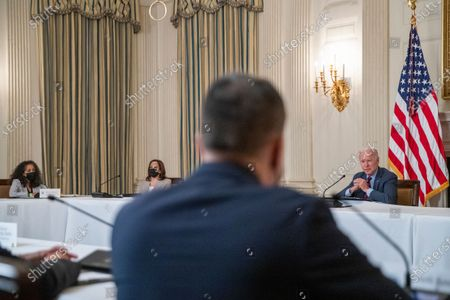US President Joe Biden, with Vice President Kamala Harris, meets with Latino community leaders to discuss his economic agenda, immigration reform and the need to protect the right to vote in the State Dining Room of the White House in Washington, DC, USA, 03.
