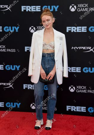 """Actress Sadie Sink attends the world premiere of """"Free Guy"""" at AMC Lincoln Square 13, in New York"""