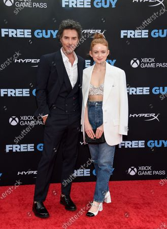 """Director Shawn Levy, left, and actress Sadie Sink pose together at the world premiere of """"Free Guy"""" at AMC Lincoln Square 13, in New York"""