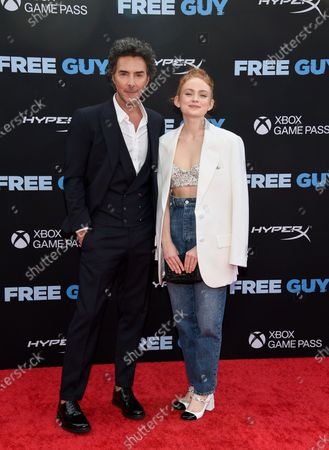 """Stock Photo of Director Shawn Levy, left, and actress Sadie Sink pose together at the world premiere of """"Free Guy"""" at AMC Lincoln Square 13, in New York"""