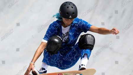 Lizzie Armanto of Finland competes in the women's park skateboarding prelims at the 2020 Summer Olympics, in Tokyo, Japan