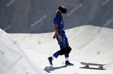 Lizzie Armanto of Finland competes in the skateboarding Women's Park Prelims at the Tokyo Summer Olympic Games in Ariake Urban Sports Park, on August 4, 2021.