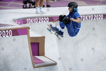 Stock Image of Lizzie Armanto of Finland competes in the skateboarding Women's Park Prelims at the Tokyo Summer Olympic Games in Ariake Urban Sports Park, on August 4, 2021.