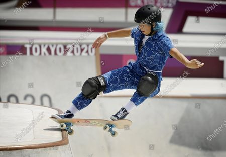 Stock Picture of Lizzie Armanto of Finland competes in the skateboarding Women's Park Prelims at the Tokyo Summer Olympic Games in Ariake Urban Sports Park, on August 4, 2021.
