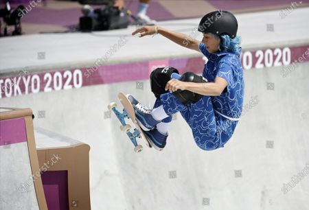 Stock Photo of Lizzie Armanto of Finland competes in the skateboarding Women's Park Prelims at the Tokyo Summer Olympic Games in Ariake Urban Sports Park, on August 4, 2021.