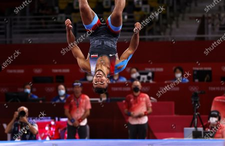 Mohamed Ibrahim Elsayed of Egypt reacts after defeating Artem Surkov of of Russian Olympic Committee during the Men's Greco-Roman 67kg Bronze Medal Match at the Wrestling events of the Tokyo 2020 Olympic Games at the Makuhari Messe convention centre in Chiba, Japan, 04 August 2021.