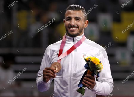 Bronze medalist Mohamed Ibrahim Elsayed of Egypt  pose with his medal for Men's Greco-Roman 67kg category at the Wrestling events of the Tokyo 2020 Olympic Games at the Makuhari Messe convention centre in Chiba, Japan, 04 August 2021.