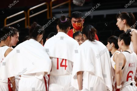 Stock Image of Chinese basketball executive Yao Ming (C) is seen during the Women's Basketball quarterfinal match between China and Serbia at the Tokyo 2020 Olympic Games at the Saitama Super Arena in Saitama, Japan, 04 August 2021.