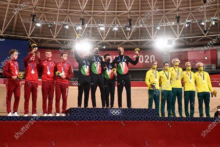 The men's team pursuit podium with Simone Consonni, Filippo Ganna, Francesco Lamon and Jonathan Milan of Italy (Gold), Lasse Norman Hansen, Niklas Larsen, Frederik Madsen and Rasmus Pedersen of Denmark (Silver) and Kelland O'Brien, Sam Welsford, Leigh Howard and Lucas Plapp of Australia (Bronze)