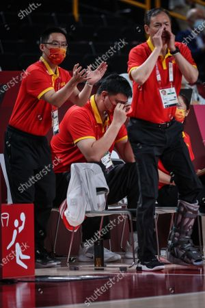 (210804) - SAITAMA, Aug 4, 2021 (Xinhua) - Yao Ming is seen during the women's basketball quarterfinal match between China and Serbia at the Tokyo 2020 Olympic Games in Saitama, Japan, Aug 4, 2021.