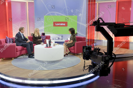 Dr Hilary Jones and JoAnne Good with Lorraine Kelly. Studio, set, camera